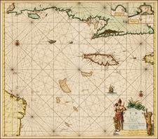 Caribbean, Cuba and Jamaica Map By Johannes Van Keulen