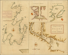 The Coast of Newfoundland From Placencia to Cape Bonavista (with insets of Havana Harbor, The Mouth of the Rio De La Plata and Honda Bay) By John Senex / Edmund Halley / Nathaniel Cutler