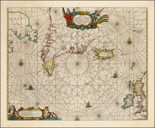 Polar Maps, Atlantic Ocean, Canada and Iceland Map By Pieter Goos