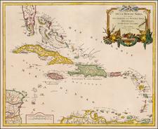 Florida and Caribbean Map By Didier Robert de Vaugondy