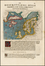 Polar Maps, Atlantic Ocean, Canada, Scandinavia, Iceland and Balearic Islands Map By Giovanni Antonio Magini