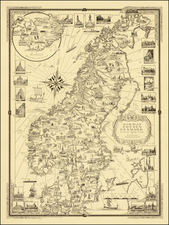 Scandinavia and Denmark Map By Ernest Dudley Chase