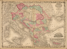 Hungary, Balkans, Greece and Turkey Map By Benjamin P Ward  &  Alvin Jewett Johnson