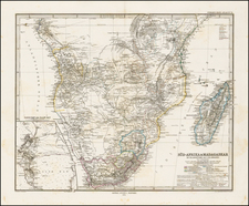 South Africa, East Africa and West Africa Map By Adolf Stieler