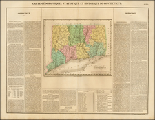 New England and Connecticut Map By Jean Alexandre Buchon