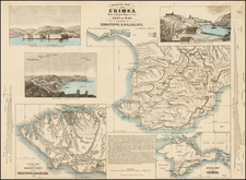 Physical Map of the Crimea With enlarged Maps of the Sat of War, And Views of Sebastapol & Balaklava, From the best Authorities by Ernest Sandoz. By John P. Jewett & Co. / Ernest Sandoz