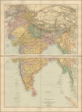 China, India and Central Asia & Caucasus Map By Edward Stanford