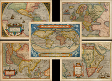 World, World, South America, Europe, Europe, Asia, Asia, Africa, Africa and America Map By Abraham Ortelius