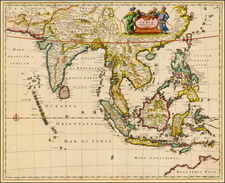 China, India, Southeast Asia, Philippines and Australia & Oceania Map By Frederick De Wit