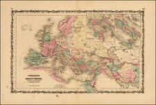 Europe, Balkans and Mediterranean Map By Alvin Jewett Johnson  &  Browning