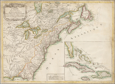 United States, New England, Mid-Atlantic and North America Map By Louis Joseph Mondhare / J. Leopold Imbert