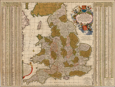 A New Mapp of the Kingdome of England, Representing the Princedome of Wales, and other Provinces, Cities, Market Towns, with the Roads from Town to Town. And the Number of reputed Miles between tehm, are given by Inspection without Scale or Compass.   By Nicolaes Visscher I / John Overton