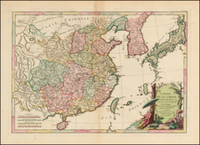 China, Japan and Korea Map By Jean Lattre