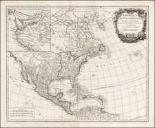 United States, Alaska and North America Map By Gilles Robert de Vaugondy