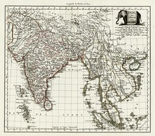 Asia, India, Southeast Asia and Central Asia & Caucasus Map By Conrad Malte-Brun