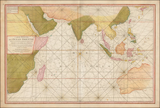 Indian Ocean, India, Southeast Asia, East Africa, African Islands, including Madagascar and Australia Map By Jean-Baptiste-Nicolas-Denis d'Après de Mannevillette