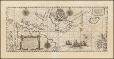 Polar Maps, Atlantic Ocean, Canada and Iceland Map By Theodor De Bry