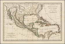 South, Texas, Southwest, Mexico, Caribbean and California Map By Felix Delamarche