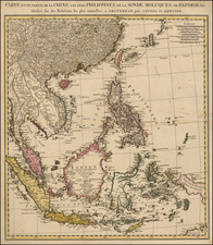 China, Southeast Asia and Philippines Map By Johannes Covens  &  Cornelis Mortier