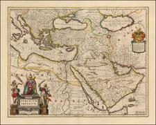 Turkey, Mediterranean, Balearic Islands, Middle East and Turkey & Asia Minor Map By Willem Janszoon Blaeu