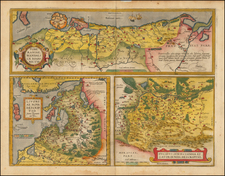Germany, Poland, Romania and Baltic Countries Map By Abraham Ortelius