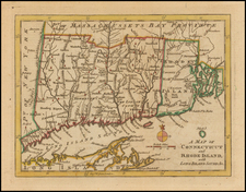 New England, Connecticut and Rhode Island Map By Gentleman's Magazine