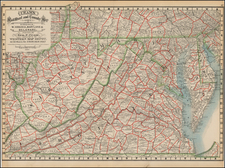 Mid-Atlantic, Southeast and Virginia Map By George F. Cram