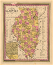 Midwest and Illinois Map By Samuel Augustus Mitchell