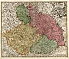 Germany, Poland and Czech Republic & Slovakia Map By Johann Baptist Homann