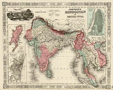 Asia, India, Southeast Asia and Central Asia & Caucasus Map By Benjamin P Ward  &  Alvin Jewett Johnson