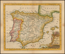 Spain and Portugal Map By Thomas Jefferys