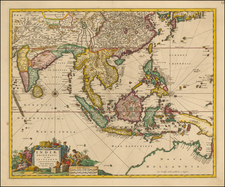 China, India, Southeast Asia and Australia Map By Nicolaes Visscher I