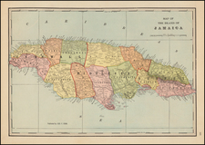 Caribbean and Jamaica Map By George F. Cram