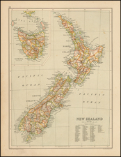 New Zealand Map By John Bartholomew