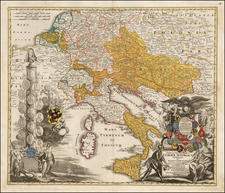 Austria, Hungary, Czech Republic & Slovakia, Balkans and Italy Map By Johann Christoph Homann
