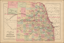 Plains, Kansas and Nebraska Map By Samuel Augustus Mitchell Jr.