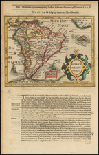South America Map By Jodocus Hondius / Samuel Purchas