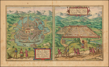 Mexico and South America Map By Georg Braun  &  Frans Hogenberg