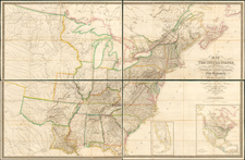 Map of the United States and the Provinces of Upper & Lower Canada, New Brunswick, and Nova Scotia.  Compiled from the latest Surveys . . . 1827 [Case Map in 4 sheets] By John & Alexander Walker