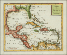 Florida, South, Texas, Caribbean and Central America Map By Citoyen Berthelon
