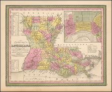 South and Louisiana Map By Thomas Cowperthwait & Co.