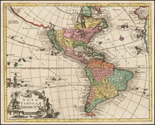 South America and America Map By Johann Christoph Weigel