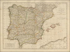 Spain, Portugal and Balearic Islands Map By Robert Sayer