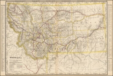 Plains, Rocky Mountains and Montana Map By George F. Cram