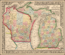 Midwest, Michigan and Wisconsin Map By Samuel Augustus Mitchell