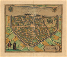 Netherlands Map By Georg Braun  &  Frans Hogenberg