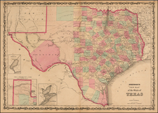Johnson's New Map of the State of Texas By Alvin Jewett Johnson  &  Browning