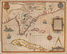 Florida, South, Southeast, Midwest, Cuba and Bahamas Map By Jacques Le Moyne