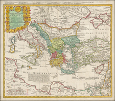 Ukraine, Italy, Turkey, Mediterranean and Turkey & Asia Minor Map By Homann Heirs