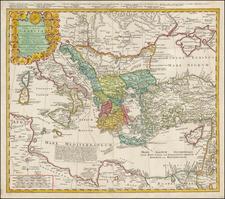 Ukraine, Italy, Turkey, Mediterranean and Turkey & Asia Minor Map By Homann Heirs